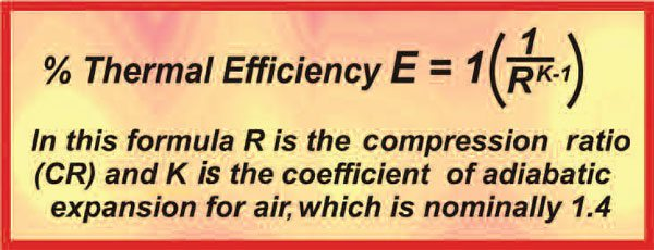 An engine's thermal efficiency, that is, the efficiency with which it can turn heat energy into mechanical energy, is directly related to the compression ratio. To better understand this, we need to look at the engine's expansion ratio, which in effect is the other side of the coin to the compression ratio.