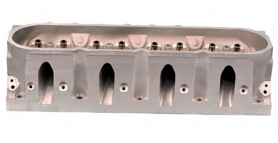 """Symmetrical intake """"cathedral"""" ports on an LS head."""