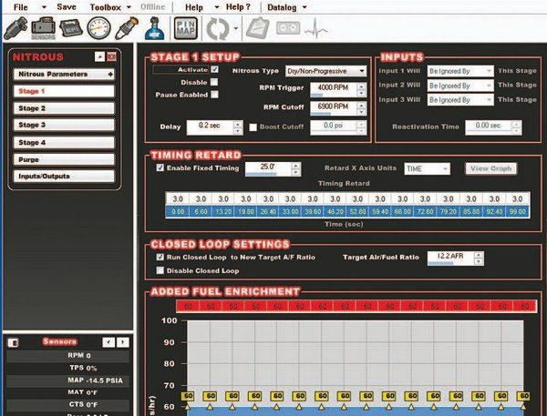 Fig. 2.3. Holley HP and Dominator EFI systems are fully compatible with nitrous and water/methanol systems. If you're a hard-core nitrous user, the software allows you to configure the ECU for up to four stages of nitrous, each of which can be wet or dry and even progressively controlled if you desire.