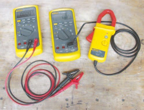Fig. 2.19. Good-quality DMMs are vital to analyzing the performance from your charging system. Fluke 80-series meters have excellent data-acquisition capabilities as well. I've been using Fluke meters and accessories for nearly 25 years and have had excellent luck with them. (Photo Courtesy MSD Performance)