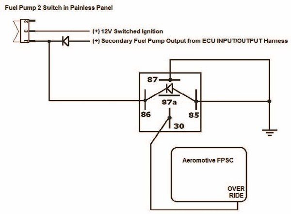 Fig. 4.17. The override input of the FPSC requires a negative trigger. Therefore, it was necessary to invert the output from the switch in the Painless switch panel. I also elected to interface this with the ECU, making the override automatic when the throttle position exceeds 40 percent.
