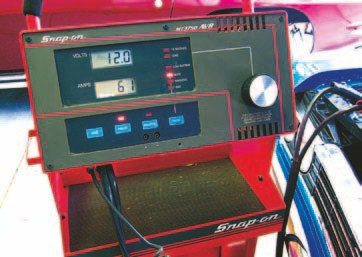 Fig. 5.8. Using the carbon-pile load in the Snap-on analyzer, we determined that the alternator can make a maximum of 61 amps at idle, as it is currently wired.