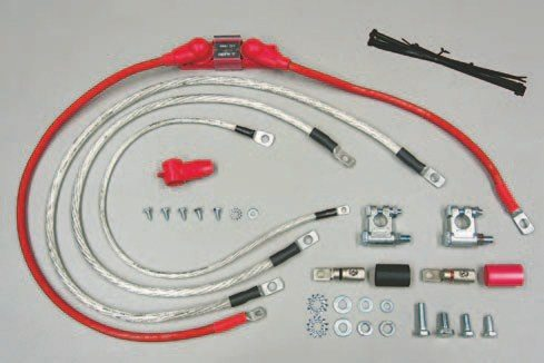 Fig. 5.9. A charging system upgrade kit, such as the 4 AWG kit pictured here, makes it easy to properly wire a 100-amp or larger alternator. This kit from CE Auto Electric Supply is inexpensive and simple to install. They offer them for alternators making up to 300 amps of output.