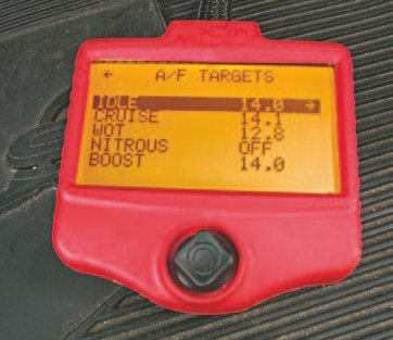 Fig. 5.47. The handheld controller allows you to easily change the A/F targets for idle, cruise, and WOT.