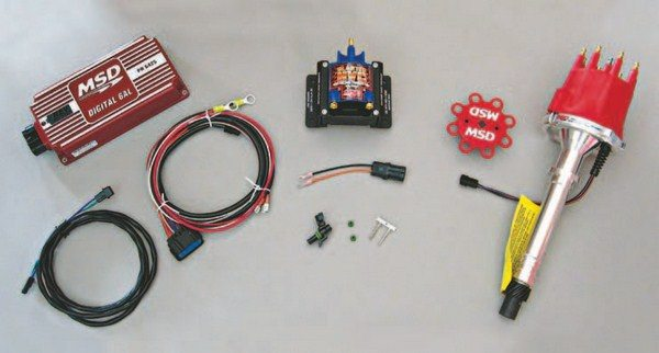 Fig. 5.51. Here's the distributor, ignition box, coil, and related parts that we used for the electrical system upgrade.