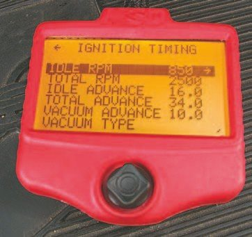 Fig. 5.64. Setting up the ignition timing via the handheld controller is a snap.