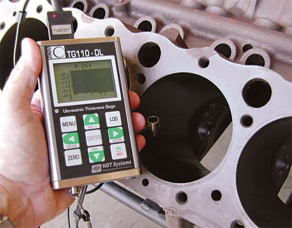 NDT Systems is a major provider of sonic-checking equipment for auto¬motive cylinder blocks. The units are easy to use and they provide very accurate results. (Courtesy NDT Systems, Inc.)