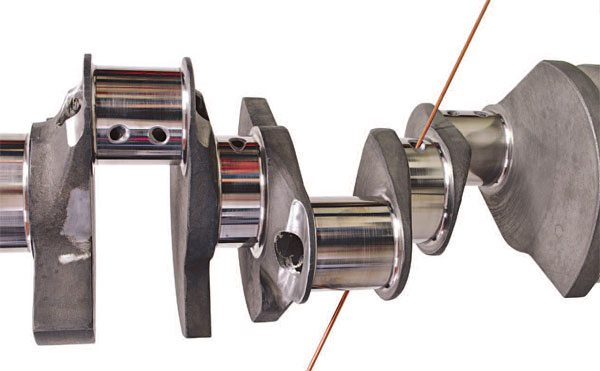 "All top-of-the-line racing crankshafts utilize ""straight-shot oiling"" in which the rods are oiled via a straight, uninterrupted passage from the mains."